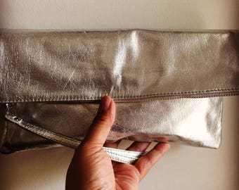 Super soft leather clutch. iPad sleeve with wrist strap. Soft leather clutch purse, foldover bag, lined.  Womens leather clutch bag, wrist