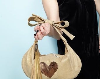 """1940's Inspired """"The Jolie Bow Bag"""" in Repurposed Gold Leather Lamé -Ready to Ship"""