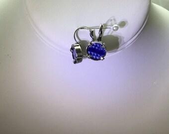 Broken blue willow earrings