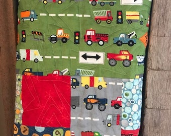 Baby Quilt, Toddler Quilt, Handmade, Trucks, Road Construction, Pebbles, Owls, Ten Little Things Fabric Collection - READY TO SHIP!