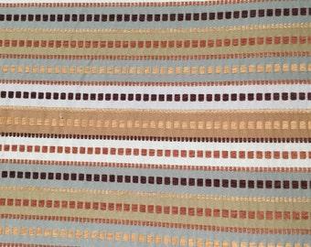 Modern Geometric Stripe and Block - Blue Green Chocolate carmel - Upholstery  Fabric  By  The  Yard
