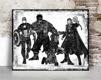 avengers print, marvel print, Superheroe wall art, Marvel poster, Thor, Hulk, Iron man, Captain America, Gift for him, FamouStars