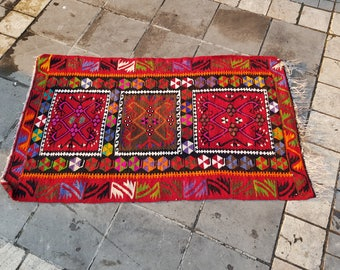 Hand Knotted Rug Vintage rug Kilim rug oushak rug Free Shipping! 3.1' x 5.4'
