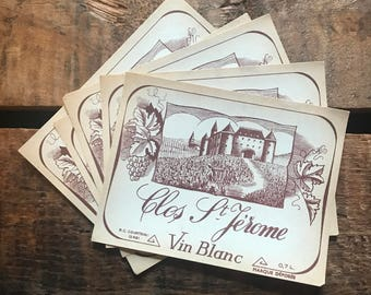 Vintage Wine Labels - Set of 5 - Vintage Labels, NOS Labels, Junk Journal, Paper Ephemera, Vintage Advertising, Altered Art, Craft Supplies