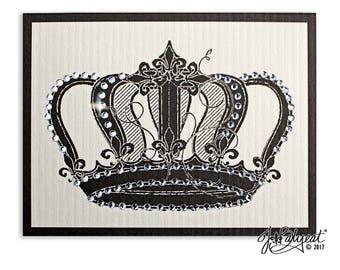Royal Crown Card - Vintage Crown - Note Card - Hand Jeweled