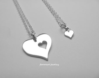 Heart Necklaces for Mother Daughter - Mothers Day Gift - Mother and Child Necklace - Mom Necklace - Mother of the Bride necklace