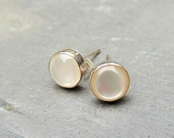 Pearl Stud Earrings - 6mm Pearl Earrings - Sterling Studs - Pearl Jewelry - Gift for Mom
