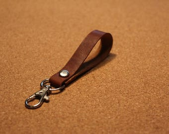Brown Leather Keychain with swivel keyring hook