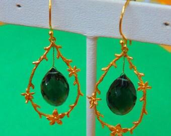 Vermeil Earrings - Vermeil Hoop Earrings - Vermeil & Green Faceted Quartz Teardrops Dangle Earrings