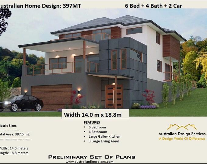 397MT | Modern Concept  House plans for sale | 6 Bedrooms + Rumpus + Parents Plans For Sale