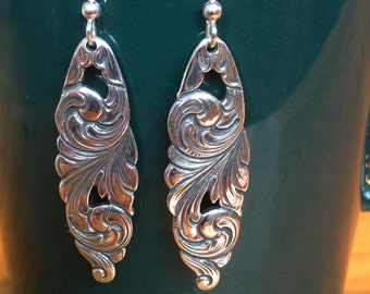 Earrings made from silver spoons.