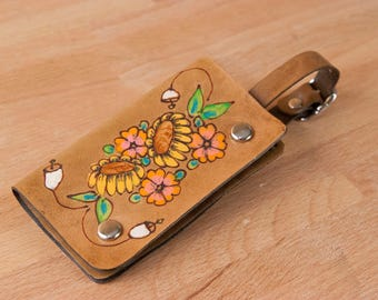 Luggage Tag - Leather in the Bloom pattern with flowers  - Use as Luggage tag or Business card case
