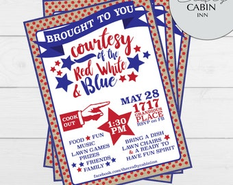 Red White and Blue Memorial Day Invitations//Memorial Day Cookout Invitation//Personalized Patriotic Invitations//Red White and Blue Invites