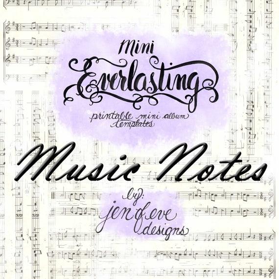 Mini Everlasting Printable Mini album Template in Music Notes and PLAIN