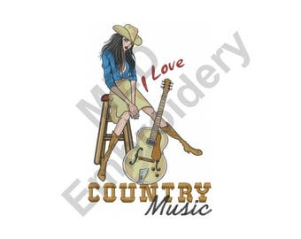 Country Music - Machine Embroidery Design, Cowgirl, Western