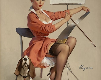Pin Up Girl Art Print Reproduction, doggone good (puppy love), 1957 by Gil Elvgren