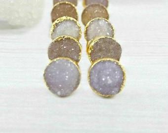Raw Druzy Studs, Druzy Stud Earrings, Raw Stone Jewelry, Druzy Earrings, Bridesmaid Earrings, Wedding Earrings, Bridal Earrings, Gifts