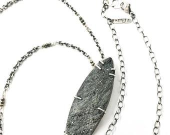 Pyrite in Schist Pendant Statement Necklace