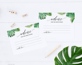 Tropical Wedding Advice Cards, Marriage Advice,Advice Printable,Wedding Shower,Bridal Shower,Advice for Bride & Groom,Instant Download #E027