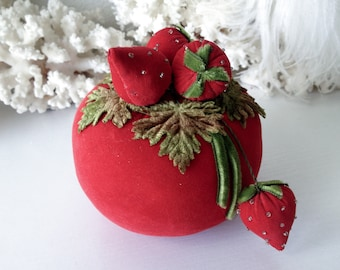 Vintage red velvet berry pincushion stuffed strawberry pin cushion unique sewing notion supply
