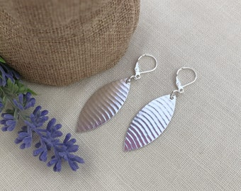 TEXTURED MARQUISE EARRINGS, Sterling Silver leaf shape, textured silver, large spoon earrings, up-cycled from vintage spoon.