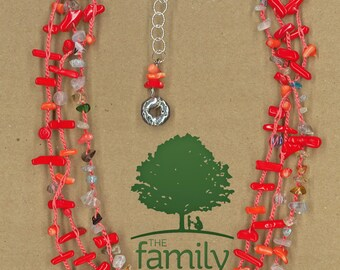 JewelryOs® Necklace- Coral Crochet - Giving back-Vermont Craft-Charity-The Family Place-Bridal Jewelry-Gift For Bridesmaid Mom Girlfriend