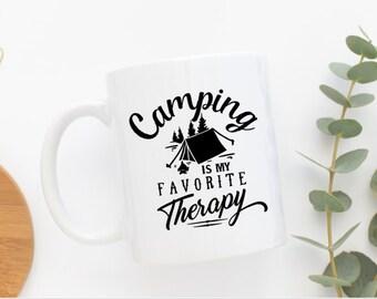 Camping is my Therapy Custom Coffee Mug ***Dishwasher Safe***
