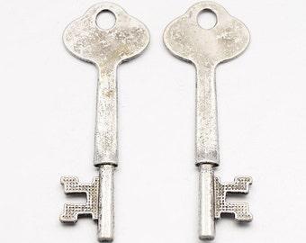 Skeleton Keys Stamping Blanks Antiqued Silver Skeleton Key 64mm 2 pieces