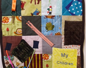 Fidget Quilt for Alzheimer patients, Gift for wheelchair patients, present for Grandpa, Rehab tool for stroke patients
