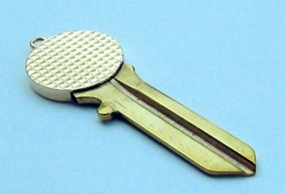 """14K Yellow Gold and Brass """" Golf Ball """" House Key Pendent. UNCUT !......."""