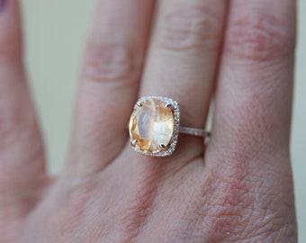 Light orange sapphire engagement ring. Sunlight Sapphire Ring 14k Rose Gold Engagement Ring 4.68ct Cushion sapphire ring by Eidelprecious