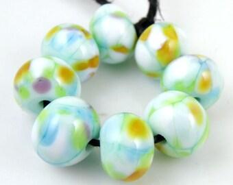 Softly Spoken SRA Lampwork Handmade Artisan Glass Donut/Round Beads Made to Order Set of 8 8x12mm