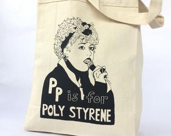 Feminist Tote Bag; Poly Styrene - X Ray Spex - Punk Screen Print