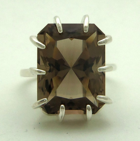 11.80 Carat Smoky Quartz Gemstone Ring Size 8 Sterling Silver Hand Cut Gem