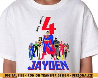 Justice League Iron On Transfer DIY Shirt Birthday