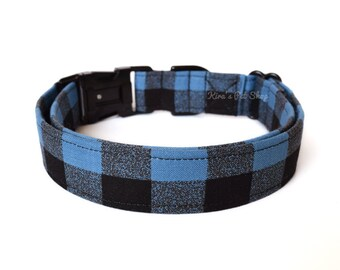 Blue Buffalo Plaid Dog Collar, Blue Plaid Dog Collar, Designer Dog Accessories, Pet Accessories, Adjustable Fabric Collar, Plastic or Metal