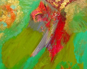 """Original Abstract Painting, 9"""" x 12"""" Acrylic Fine Modern Wall Art with Lime Green, Turquoise, Gold, and Red"""