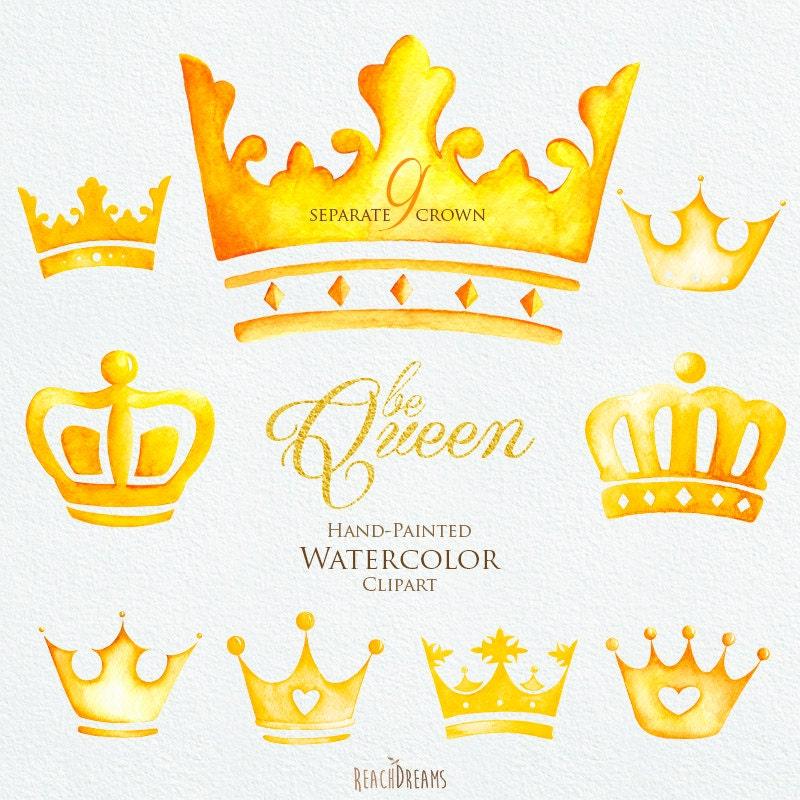 Watercolor crown clipart elements queen king princess golden zoom stopboris Image collections