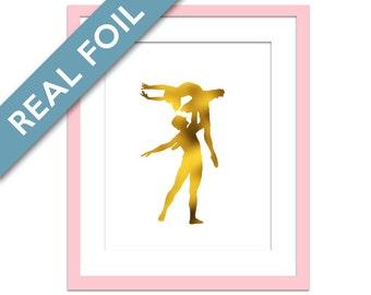 Ballerina Art Print - Gold Foil Print - Ballet Dancer Poster - Dance Art - Gold Foil Ballerina - Ballet Art Work - Nursery Art - Dance Print
