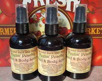 Feelin' Peachy Lotion, Natural Lotion, Vegan Lotion, Skin Moisturizer, Body Lotion, PARABEN FREE