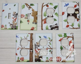 YOU CHOOSE Forest Animal Woodland Friends Stacked Forest Critters Boys Bedroom Baby Nursery Single Light Switch Cover