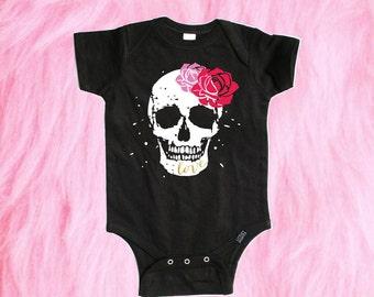 Sugar Skull Baby Shirt, Baby Girl Clothing, Skull Baby Shirt, New Baby Gift, Punk Rock Baby, Hipster Baby Clothes, Baby Gear, Girl's Clothes