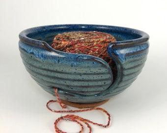 Yarn Bowl - In Stock & Ready to Ship - Knitting Bowl - Large Yarn Bowl - Pottery Yarn Bowl - Ceramic Yarn Bowl - Blue Yarn Bowl