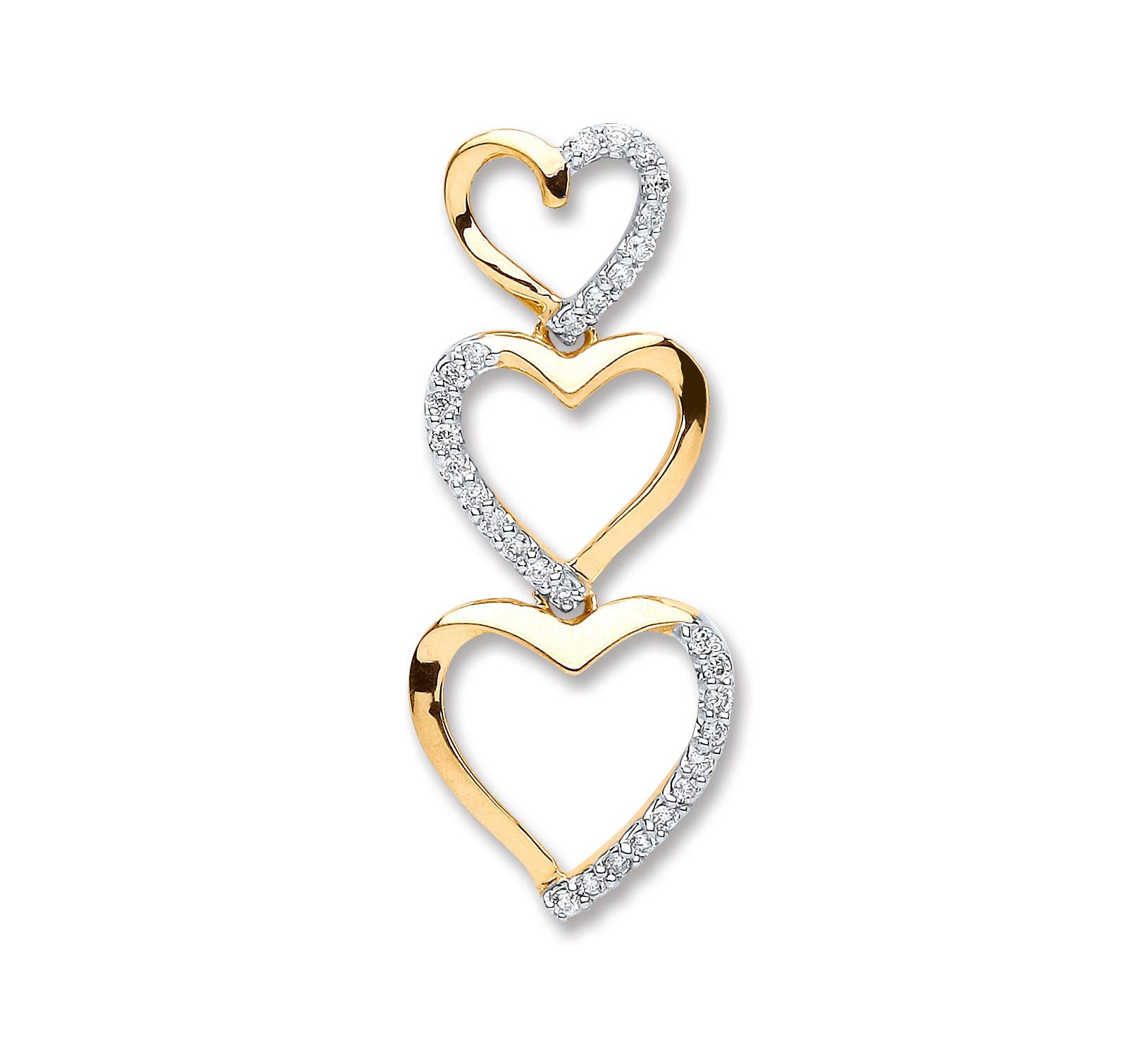 9ct yellow gold 015ct diamond trilogy heart drop pendant 25x10mm audiocablefo