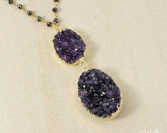 50 % de réduction vente - collier Géode d'améthyste violet or sur chaîne de Pyrite noir - collier, février améthyste, Pierre de naissance