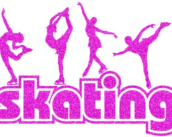 Ice Skating Figures Iron On Decal