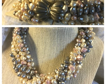 Signed Les Bernard Multi Strand Cultured Dyed Freshwater Pearl Necklace Silver Tone Clasp Twisted Strands 1950's 1960's Torsade Heavy
