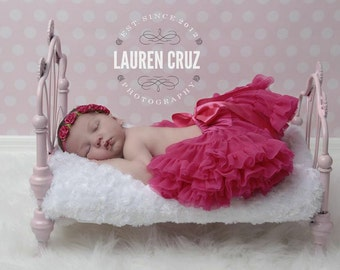 Boho chic satin ribbon flower headband, perfect for all ages and newborn photoshoots, hot pink halo, baby halo, by Lil Miss Sweet Pea