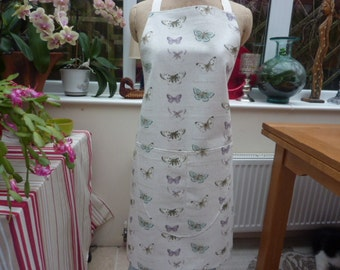 Butterfly Apron with pocket ,  Adjustable Neck Strap.  With or Without Hand Embroidered Name