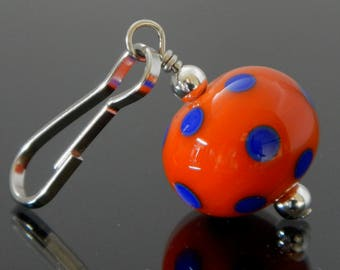 Zipper Pull, orange & blue,polka dot,zipper pulls for purses, zipper pull charm, beaded zipper pull, decorative pull, artisan made, lampwork